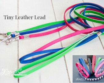 Tiny Leather Leash, 3/8 inch leash, Small Clasp Leash, Small Leather Leash, Chihuahua Leash, Small Dog Leash