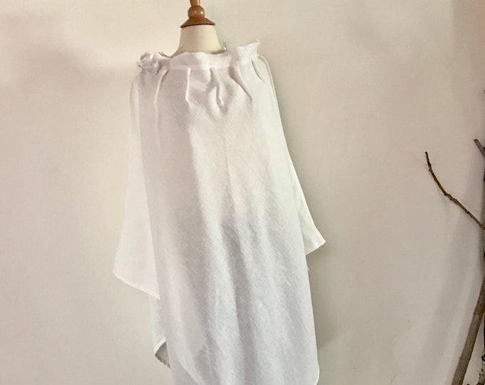 Featured listing image: white linen poncho free size ready to wear / long poncho /  roses / ready to ship / plus size fit / free size poncho