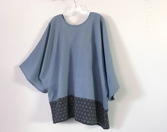 ready wear oversize icy blue heavy linen top with indigo star pattern panel