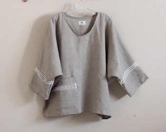 lace deco oversized natural linen top ready to wear  / lace trim linen top / ready to ship natural linen top / cotton lace details