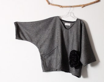 black flower on gray tweed wool top over size ready to wear / gray wool oversized top / ruffle flower / ready to wear wool / handmade wool