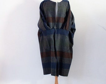 custom gray stripes boild wool kangaroo pocket coat