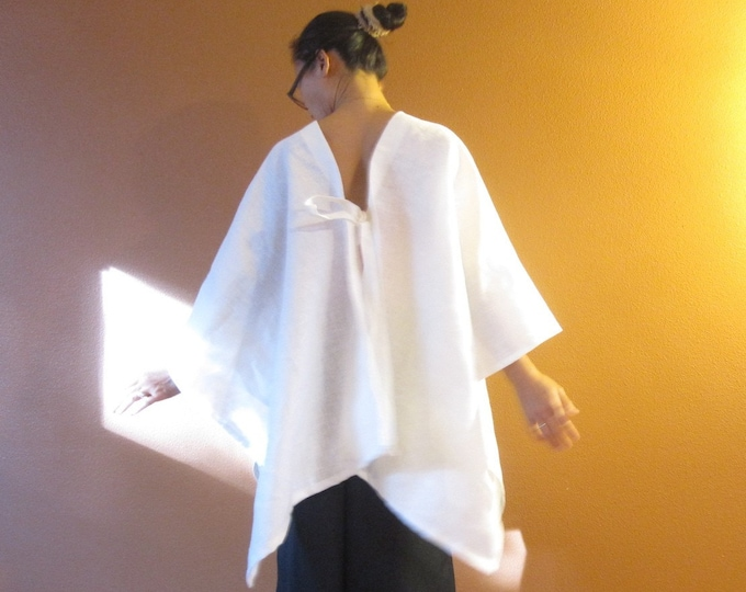 heavy linen origami wrap  made to order / wrap jacket / wrap shawl / linen shawl top / indie design / linen outerwear
