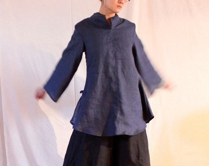 custom linen Asian style blouse / custom sizes linen blouse / custom colors linen blouse / long sleeves / stand up collar / petite to plus