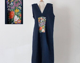midnight blue sparrow linen dress with Japanese floral kimono silk panel  size M ready to wear / navy linen dress with kimono motif /wedding