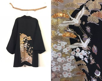 Collectable black crepe wool haori inspired jacket with gold clouds and flying cranes kimono silk panel