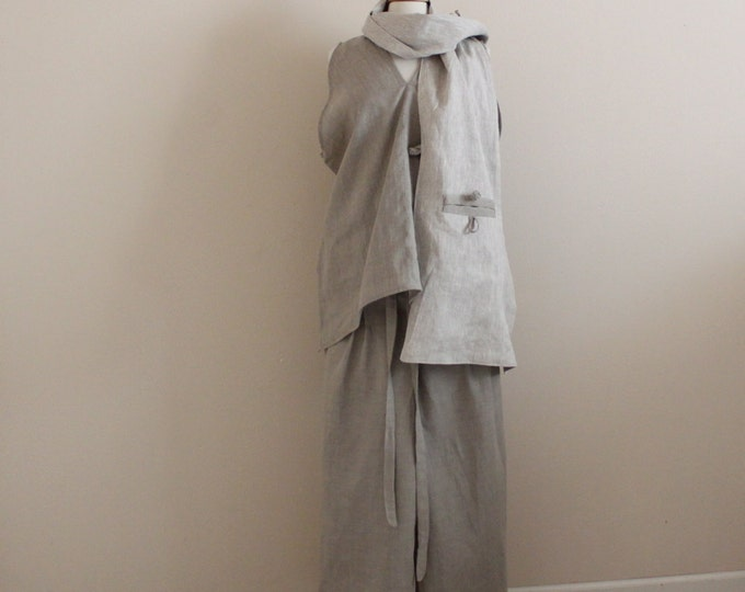 natural pebble linen outfit top pants scarf made to measure only