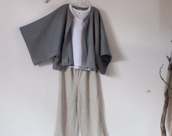 minimalist linen outfit three pieces handmade to measure petite to plus size / custom linen jacket top pants / custom sizes / custom colors