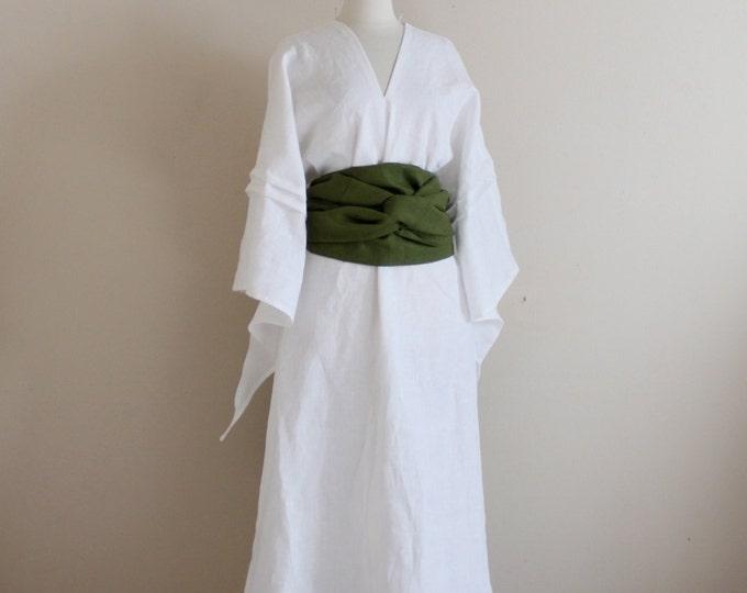 custom linen swallow dress with wide obi / linen wedding dress / obi sash / white linen dress / Asian style dress / linen party dress /