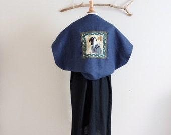 handmade to order geisha heavy weight linen shawl cape / shoulder warmer / shawl wrap / geisha panel /