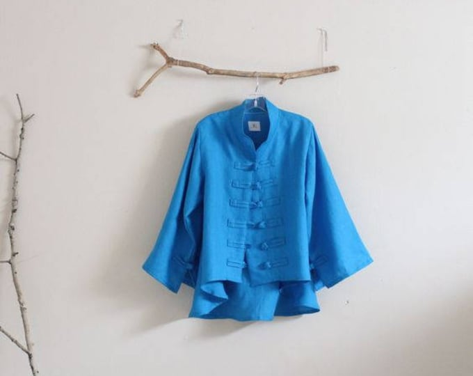 handmade linen jacket size XS to 6XL / handmade linen jacket / hand looped frog toggle jacket / plus size / petite / made to measure