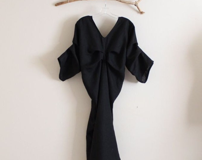 custom bottle shape fold linen dress with fold sleeves / handmade linen dress with folds / linen party dress / linen wedding