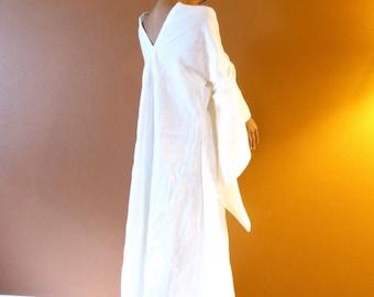custom  linen wedding dress