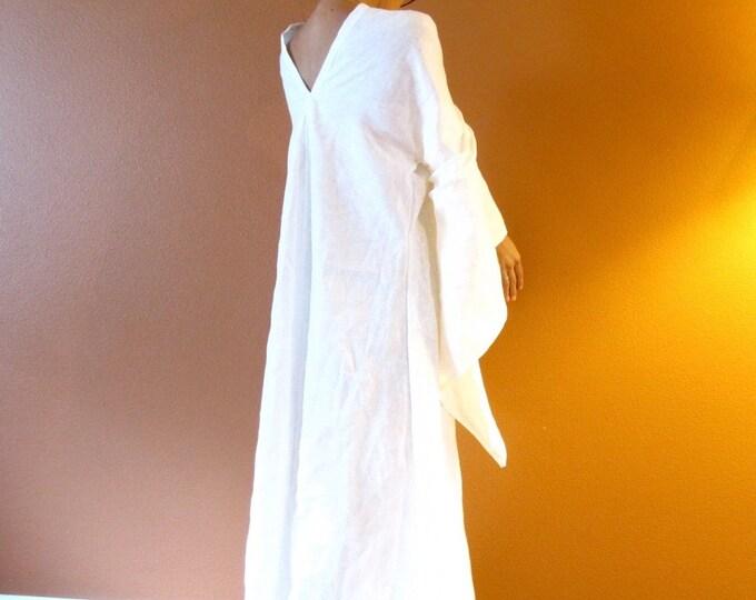 custom eco wedding dress linen flying swallow dress / wide sleeve end dress / fairy sleeve dress / unique design linen dress