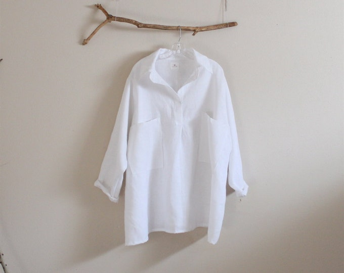 linen shirt  with oversized pockets made to order / plus size white linen shirt / oversized loose linen shirt / linen shirt with pockets