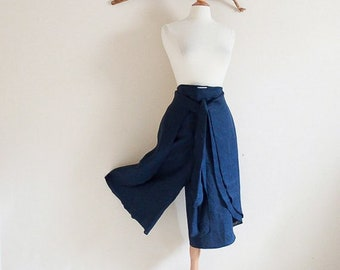 capri length linen butterfly wrap pants made to order