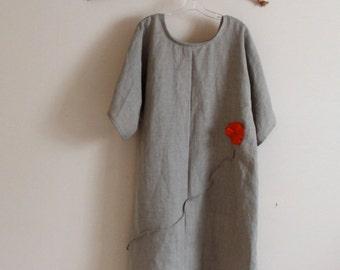 custom plus size natural linen dress with orange pleated flowers / linen slip dress / plus size / all sizes /