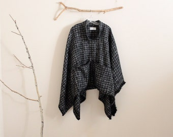 custom fall winter wool linen blend swallow asian poncho  / plaid wool / black and white checked print wool poncho / free size poncho