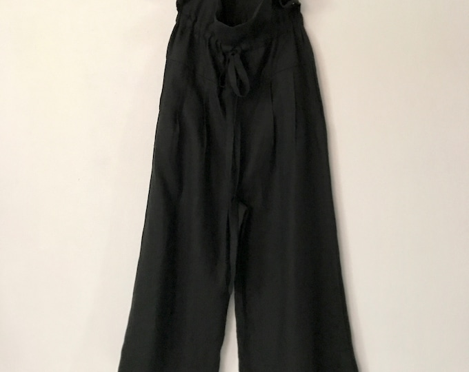 ready to ship black linen drawstring lotus wide leg pants with slip in side pockets / long length pants / pants for tall girls / drawstring