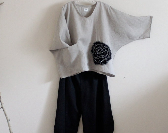 linen outfit black flower natural linen top and ninja pants  made to order / linen outfit custom made / made in USA