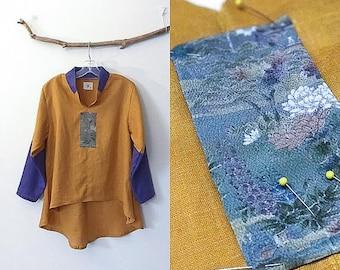 size M autumn gold purple linen blouse - ready to wear