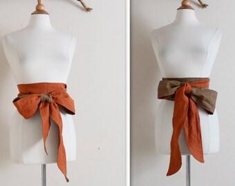dual tone linen slim obi sash made to order