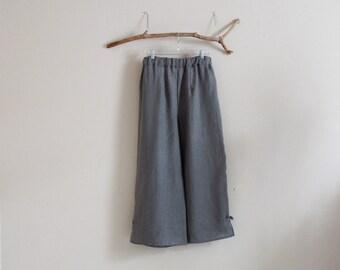 custom linen elastic waist peasant pants / made to order / custom length / plus size linen pants / custom linen pants / gray linen pants /