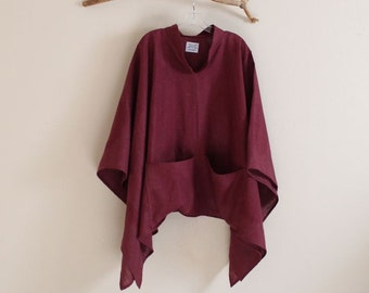 custom heavy linen swallow poncho big pockets free size / thick linen poncho / linen outerwear / plus size poncho