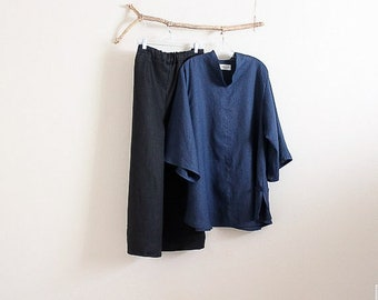 linen outfit toggle blouse and pants made to order