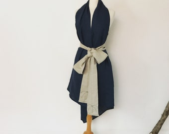 midnight linen chic low cut halter dress with natural obi sash