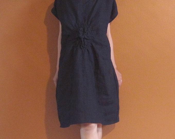 handmade SMOCKED TWIRL linen tunic dress made to order / black linen dress /indie design /dress for wedding / plus size / petite