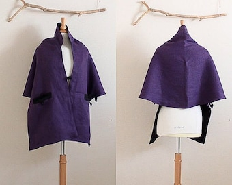 reversible eggplant black linen lotus motif bolero shawl ready to wear