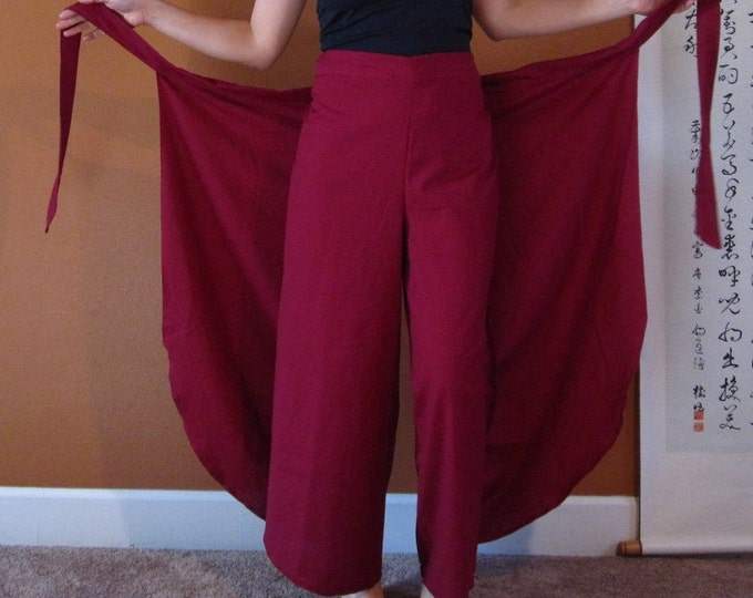 """Asian butterfly  flare wrap around pants for waist 36"""" and under  custom order listing"""