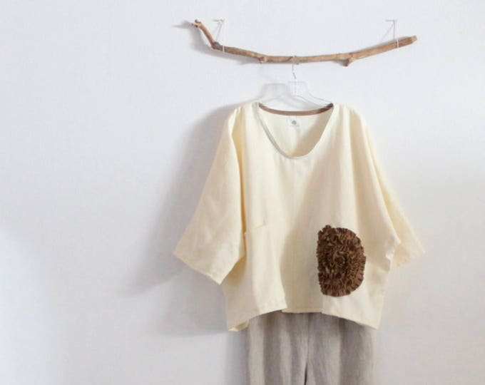 Featured listing image: cream flower ginger linen top over size ready to wear / oversized linen top with big ginger flower / plus size fit