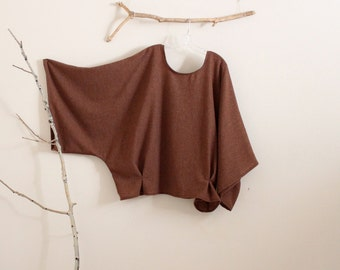 oversized soft autumn brown wool kimono wide sleeve top with folds made to order