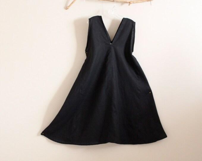 made to order linen origami flare seam dress / black linen dress / linen women clothing / plus size linen dress / petite dress / sleeveless