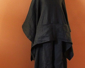 free size heavy linen swallow poncho coat made to order