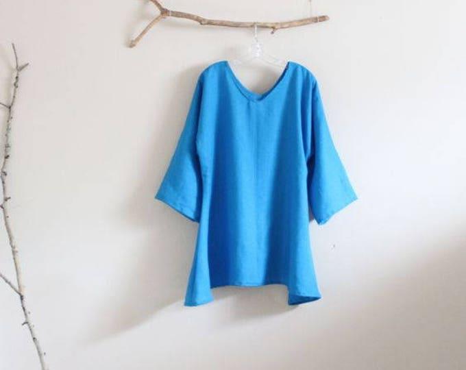 custom plus size  linen V shape neckline  top / minimalism linen blouse / simple linen blouse
