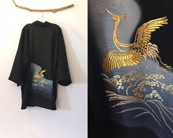 Collectable black crepe wool haori inspired jacket with a gold thread flying crane kimono silk panel
