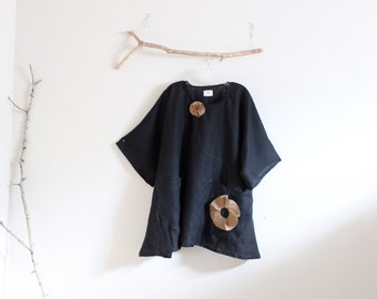 custom plus size ginger flower black linen tunic length top / custom tunic top / plus size / kimono sleeves / super roomy / maxi tunic