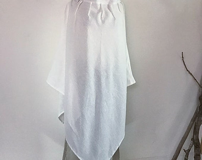 Featured listing image: white linen poncho free size ready to wear