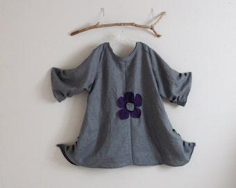 custom plus size flower fold gray linen tunic length dress