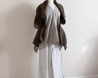 earthy tone linen outfit custom made - linen shawl, linen top, linen pants