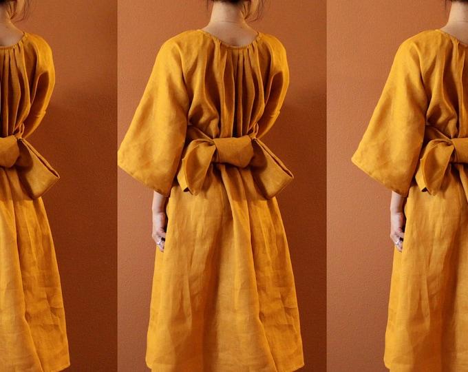 custom bridesmaids linen many moods dress with obi / maxi dress / wide roomy dress / linen wedding dress / tea length dress