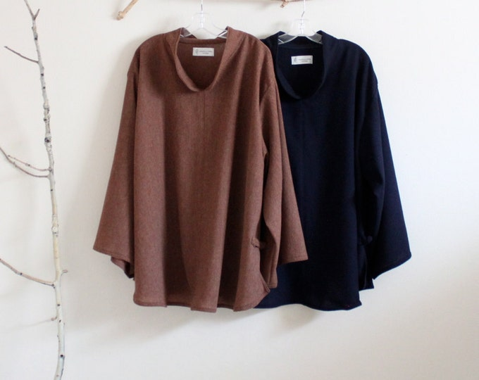 wool asian blouse / made t order / plus size wool blouse / minimalist blouse / brown wool blouse / navy wool blouse / winter blouse
