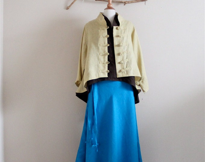 linen outfit geisha collar top  flare skirt  with jacket  handmade to measure petite to plus size / linen top / linen skirt / linen jacket