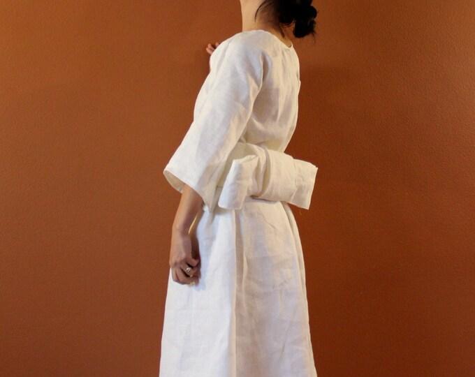 Alternative eco wedding dress made to measure listing / linen wedding dress / beach wedding / white linen dress for wedding /linen dress obi