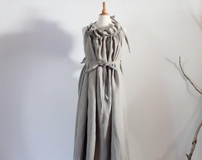 alternative wedding outfit full length plus size linen ruffle pleats versatile dress super roomy