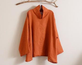 custom high collar cloud linen blouse