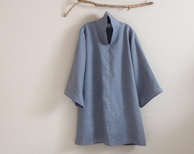 custom  heavy linen cloud collar tunic length blouse / plus size linen tunic blouse / made in USA / handmade high collar blouse